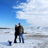 Nossa família congelando na praia!