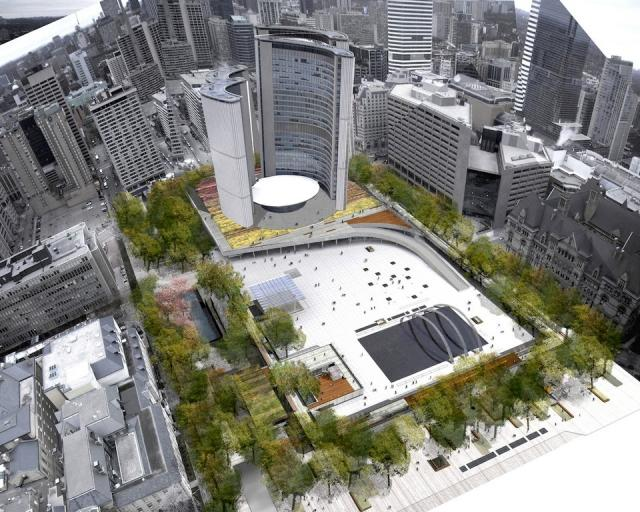 Rendering of the Nathan Phillips Square Revitalization. Fonte da imagem: Perkins+Will Canada / Plant Architect Inc.